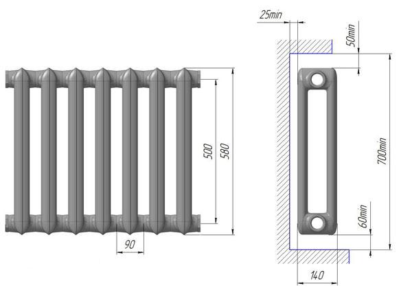 Размеры чугунного радиаторы МС 140 Нижний Тагил